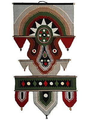 Multicolored Cotton Handmade Wall-Hanging with Wooden Beads and Brass Bells from Maharashtra