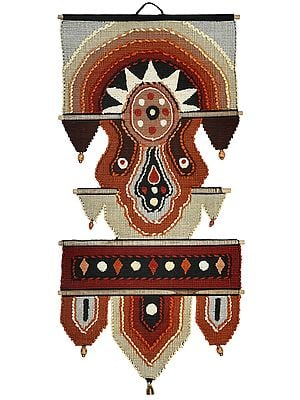 Cambridge-Brown Multicolored Cotton Handmade Wall-Hanging with Wooden Beads and Brass Bells from Maharashtra