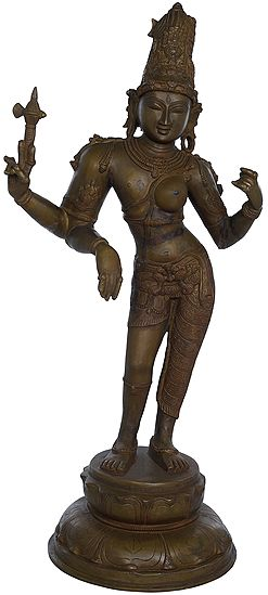 Ardhanarishvara (Shiva-Shakti), With The Towering Jatamukuta