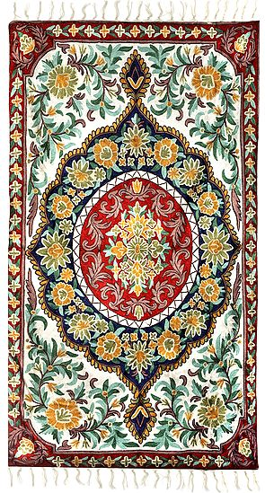Cornsilk Carpet from Kashmir with Ari-Embroidered Flowers All-Over