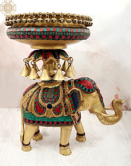 """21"""" Inlay Urli with Bells The Base of Royal Elephant 