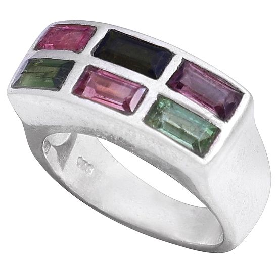 Sterling Silver Ring with Multi-Tourmaline Crystals
