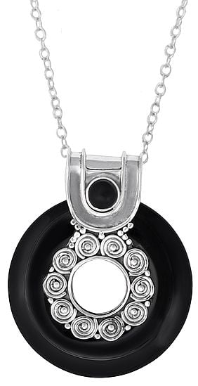 Sterling Silver Pendant with Black Onxy Stone