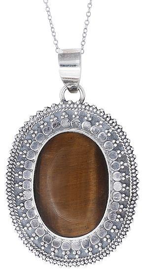 Large Tiger Eye Stone Studded Sterling Silver Pendant
