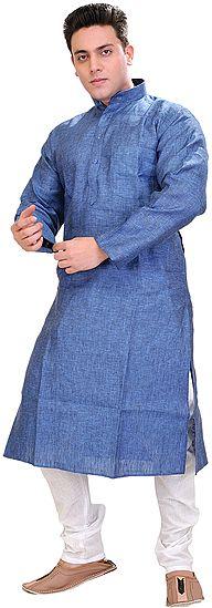 Plain Pure Linen Kurta with White Pajama Set