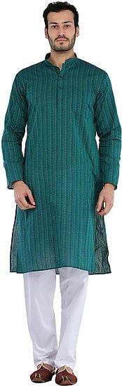 South-Cotton Kurta Pajama Set with Thread Weave