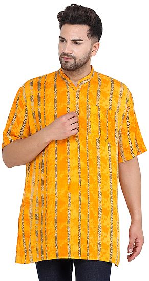 Saffron Casual Kurta with Printed Stripes and Short Sleeves from ISCKON Vrindavan by BLISS