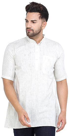 Casual Khadi Cotton Kurta with Short Sleeves from ISCKON Vrindavan by BLISS