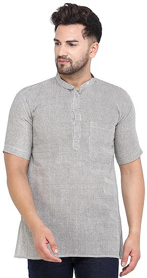 Vintage-Khaki Casual Kurta with Short Sleeves from ISCKON Vrindavan by BLISS