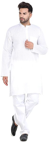 Star-White Kurta with Woven Stripes and Long Sleeves from Iskon Vrindavan by BLISS