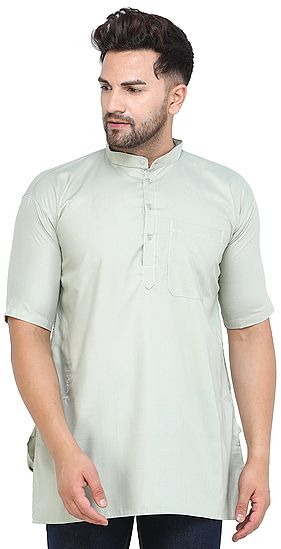 Casual Solid Cotton Kurta with Short Sleeves from ISCKON Vrindavan by BLISS