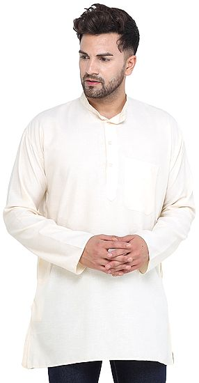 Pearled-Ivory Casual Plain Kurta with Long Sleeves from ISCKON Vrindavan by BLISS