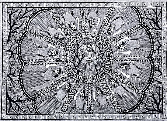 Krishna Surrounded By His Dancing Radha