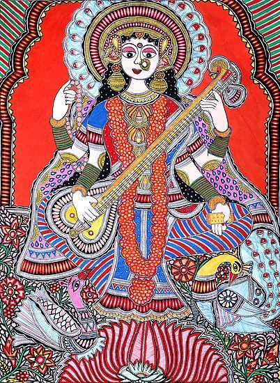 Vibrant Shringar Of The Devi Saraswati