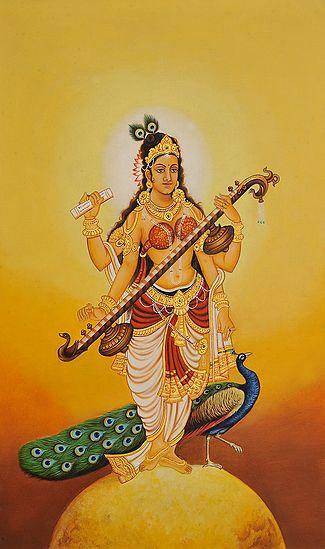 Goddess Saraswati Attracted by the Cosmic Rays of Sun