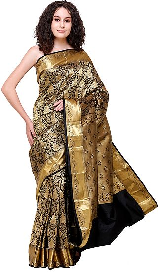 Jet-Black Brocaded Wedding Sari from Bangalore With Zari-Woven Florals and Paisleys