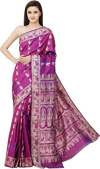 Sari with Gita Border and Pallu Depicting Images of Radha-Krishna (Fuchsia-Purple Baluchari)