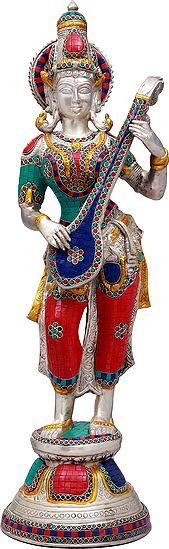 Standing Saraswati, Music Flowing From Her Veena