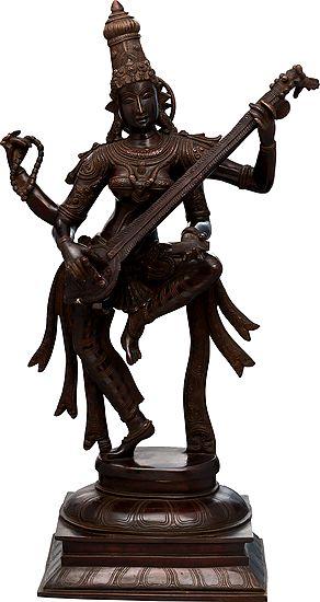 Sarasvati Plays On Her Veena And Dances
