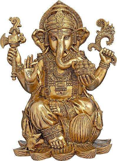 Richly Adorned Kamalasana Ganesha, His Lifelike Gaze Encompassing The World