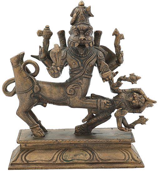 "6.2"" Lord Sharabha Subdues The Unpacifiable Narasimha   Handmade   Panchaloha Bronze"