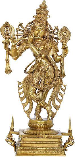 Tribhang Murari Chaturbhujadhari Krishna, With The Towering Kirtimukha Crown
