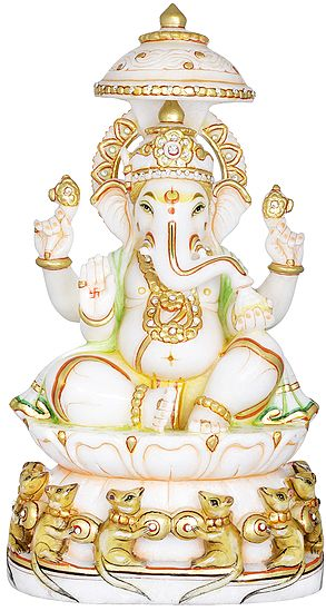 White And Gold Lord Ganesha