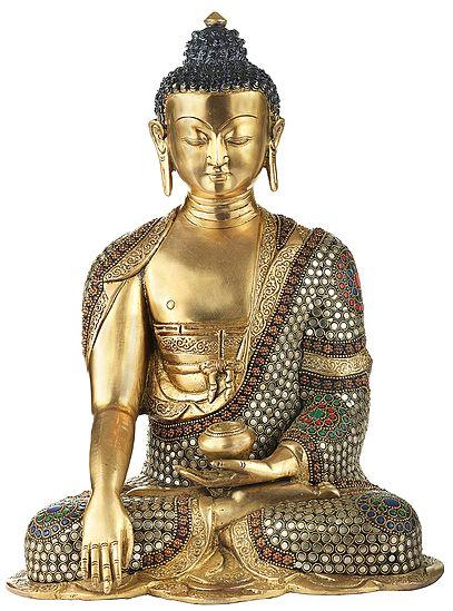 Bhumisparsha Lord Buddha With Inlay Stone Work