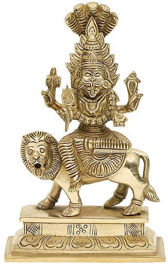 "7"" Fierce Goddess Pratyangira | Incarnation Of Chandni / Durga | Handmade | Brass Statue | Made In India"