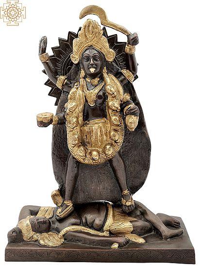 "11"" Devi Kali | Divine Universal Mother | Avatar Of Parvati | Handmade | Brass Statue | Made In India"