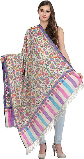Cream Authentic Kani Pure Pashmina Shawl with Kadha Handloom Weave