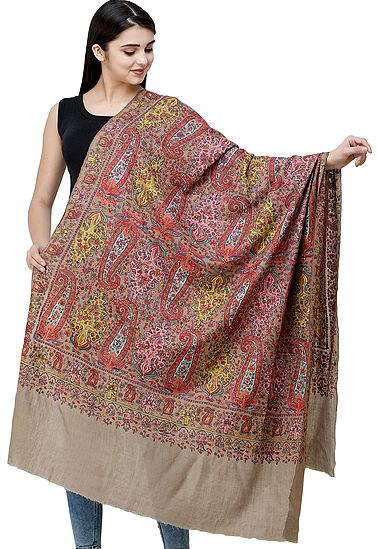 Silver-Mink Pure Pashmina Handloom Shawl from Kashmir with Sozni Floral Embroidery