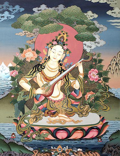 Tibetan Buddhist Sarasvati, Bringing Nature Alive With Her Veena