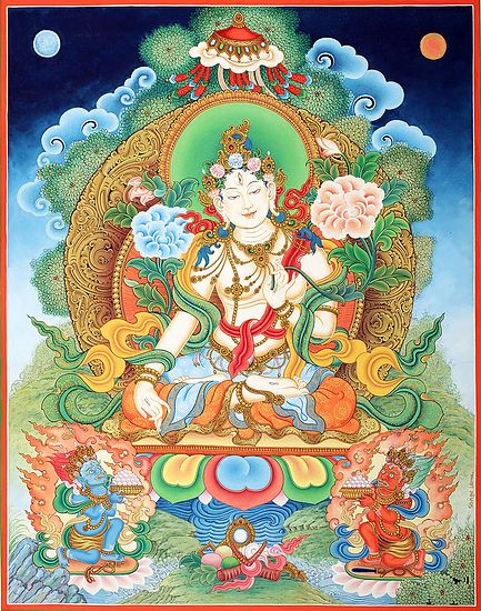 The Ethereal White Tara, Tibetan Buddhist Devi In Superfine Brocadeless Thangka