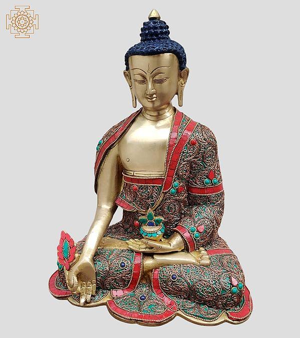 """13"""" Tibetan Buddhist Healing Buddha   Medicine Buddha   Inlay Work   Brass Statue   Handmade   Made In India"""