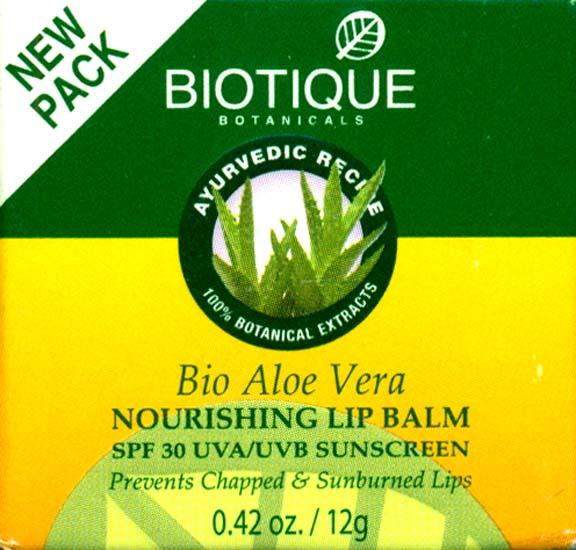 Bio Aloe Vera Nourishing Lip Balm SPF 30 UVA/UVB Sunscreen Prevents Chapped & Sunburned Lips (100% Botanical Extracts)