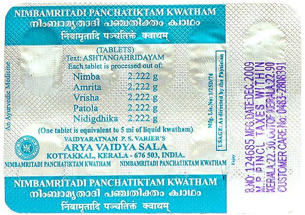Nimbamritadi Panchatiktamkwatha (Each Stripe 10 Tablets)