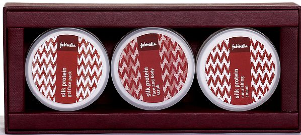 Fabindia Pack of Silk Protein Gel Face Pack, Face and Body Scrub , & Nourishing Cream