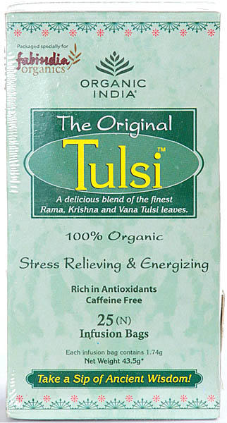 Organic India- The Original  Tulsi  (A delicious blend of the finest Rama, Krishna and Vana Tulsi leaves.)   100% Organic Stress Relieving & Energizing, Rich in Antioxidants Caffeine Free, 25 Infusion Bags