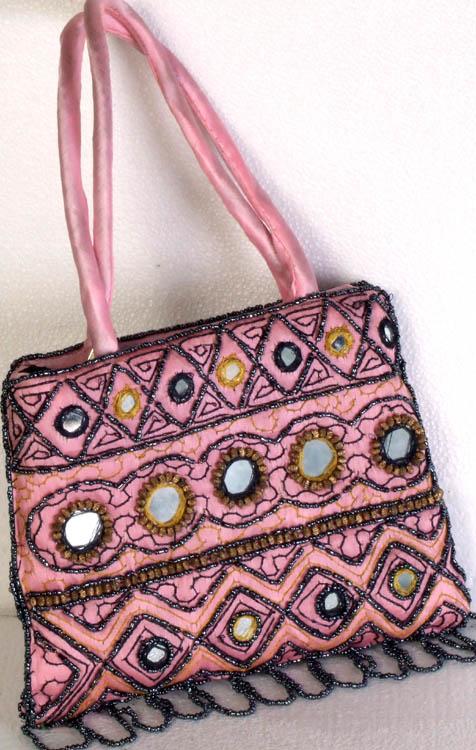 Powder-Pink Handbag with Beads and Mirrors