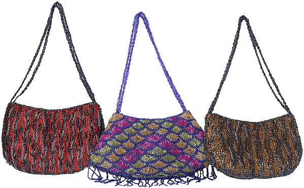 Lot of Three Handbags Densely Embroidered with Beads
