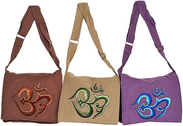 Lot of Three Jhola Bags with Embroidered Om