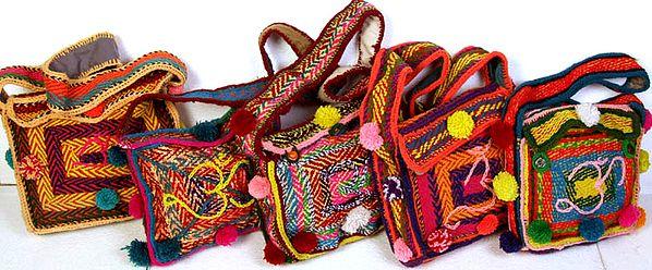 Lot of Five Om Shoulder Bag from Haridwar
