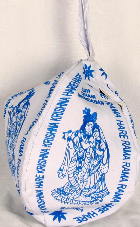 Lavender Printed Radha Krishna Rosary (Mala) Bag