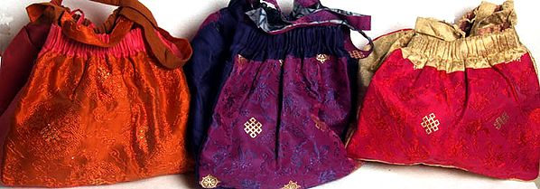 Lot of Three Banarasi Endless Knot Handbags with All-Over Brocade Weave and Side Pockets