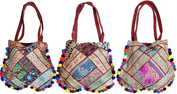 Lot of Three Shopper Bags from Kutch with Floral Embroidery and Embellished Crystals