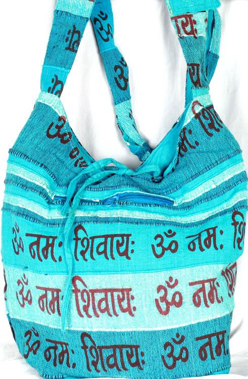 Turquoise Om Namah Shivai Jhola Bag
