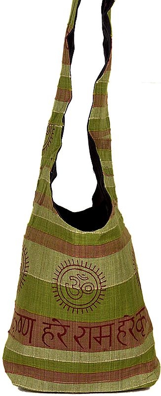 Olive Green Jhola Bag with Printed Hare Rama Hare Krishna Mantra