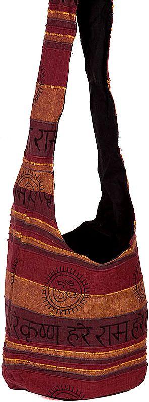 Tri-Color Jhola Bag with Printed Hare Rama Hare Krishna Mantra