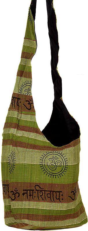 Olive Green Jhola Bag with Printed Om Namah Shivai Mantra